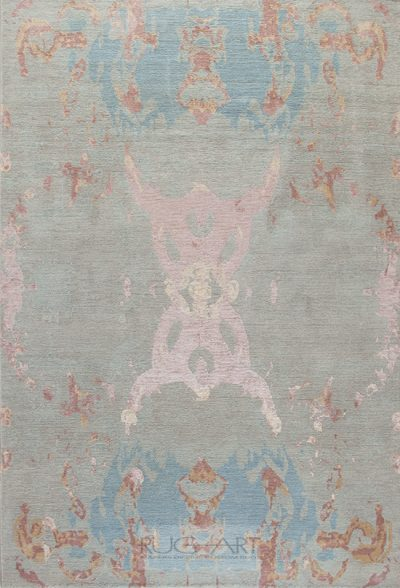 beautiful transitional rug design Eze blue, rug art international
