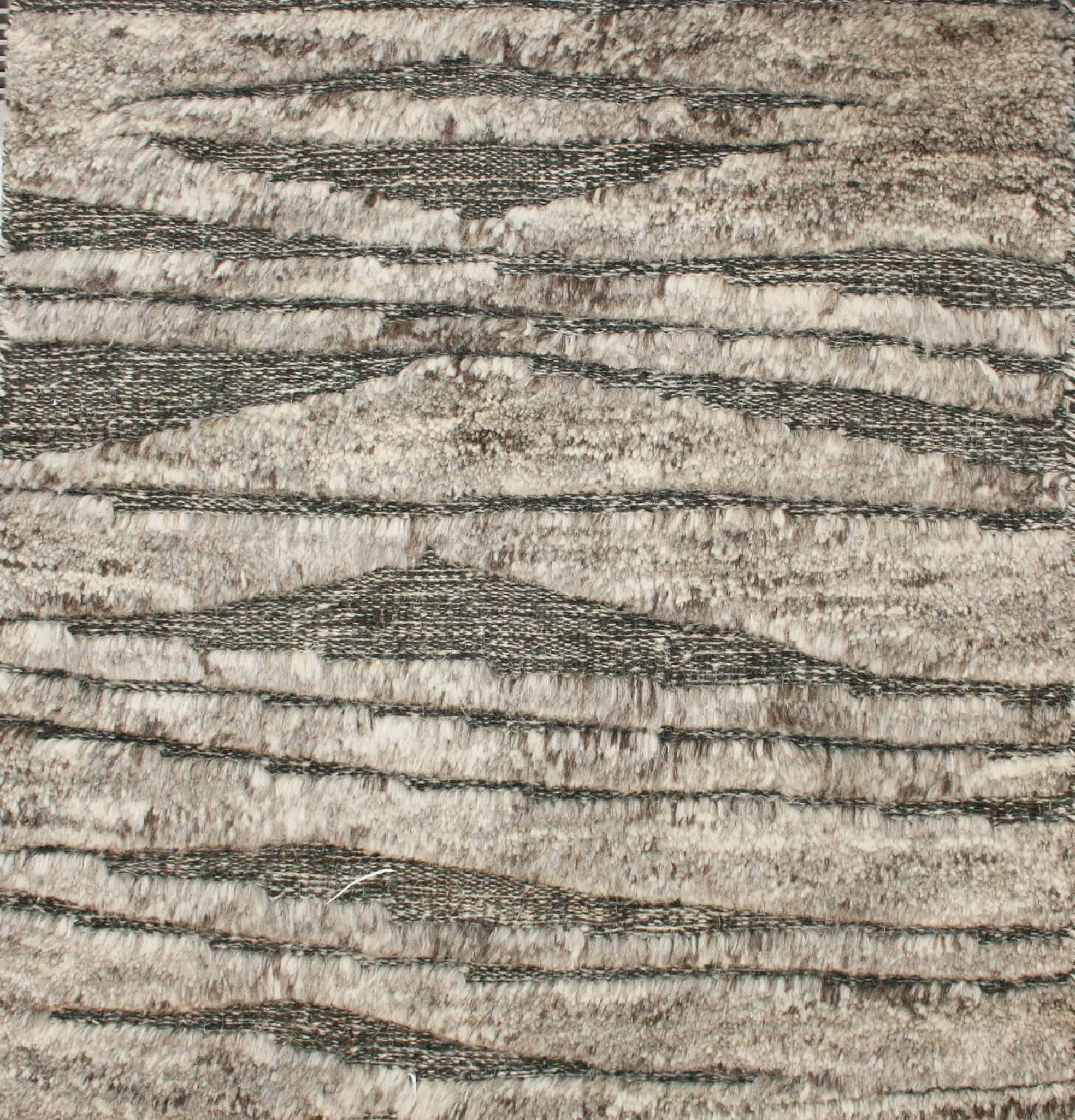 rustic modern hand knotted flat weave combination rug