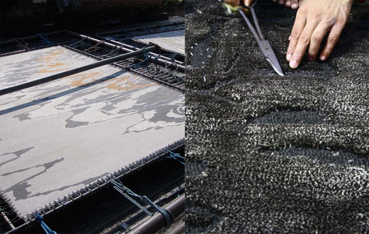 process of hand knotted rug.